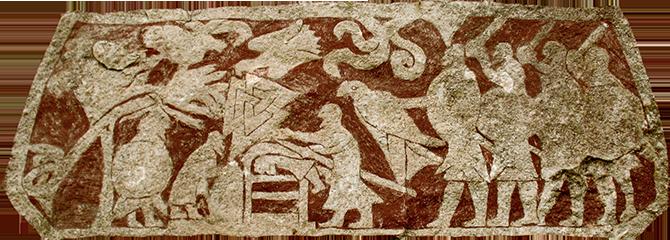 Символ Валькнут высеченный на камне